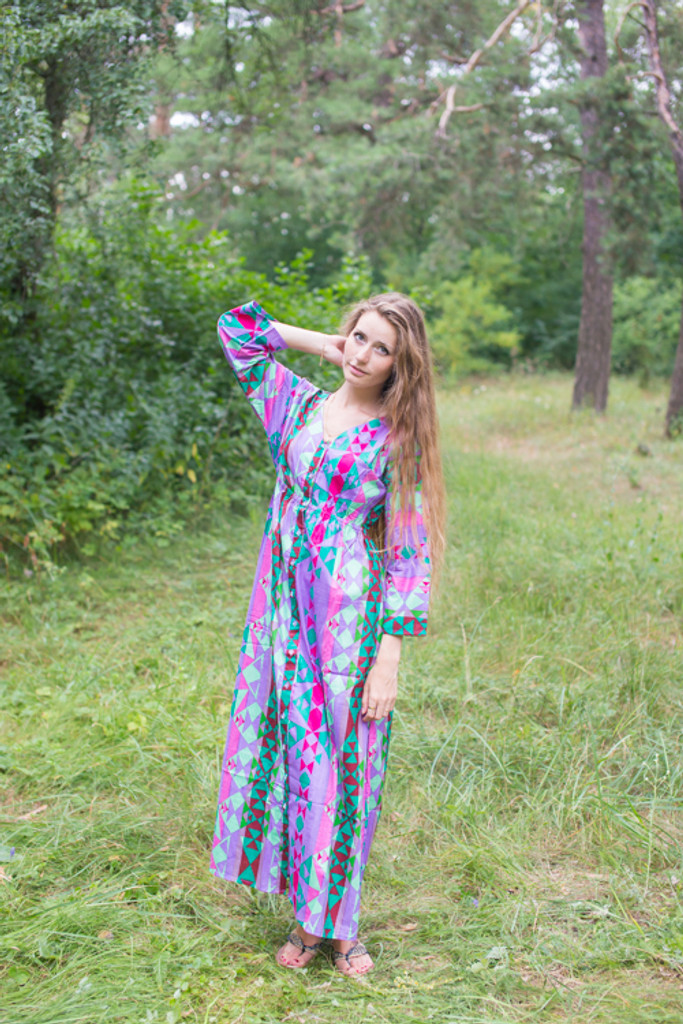 """Button me down"" kaftan in Diamond Aztec pattern"