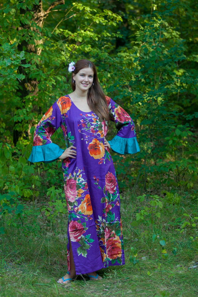 """""""Frill lovers"""" kaftan in Large Floral Blossom pattern"""