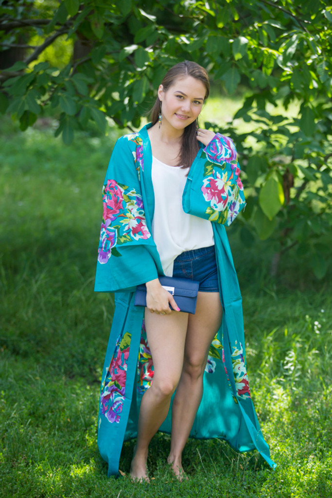 """Boho-Chic"" Kimono jacket in One Long Flower pattern"