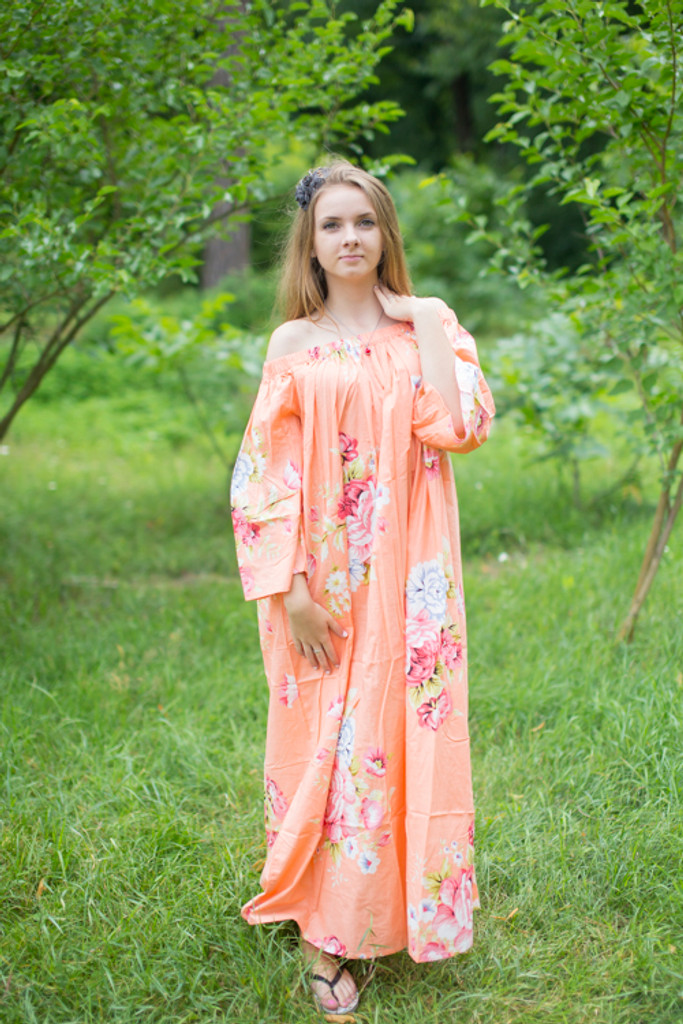 """Serene Strapless"" kaftan in Cabbage Roses pattern"