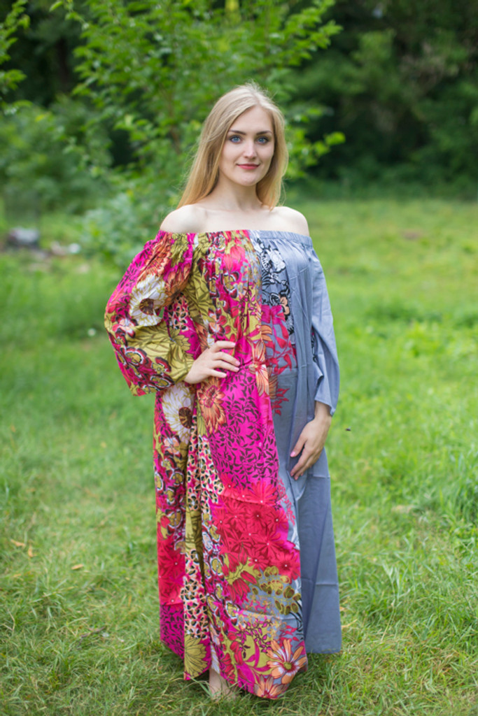 """Serene Strapless"" kaftan in Floral Vibrant Foliage pattern"
