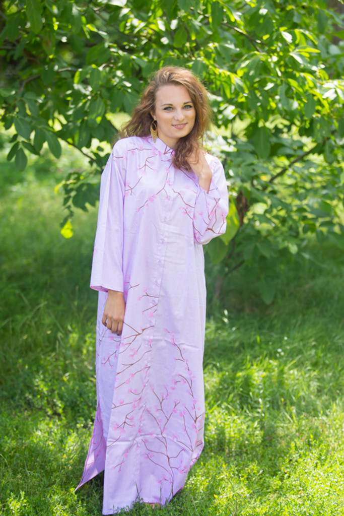 """Charming Collars"" kaftan in Cherry Blossoms pattern"
