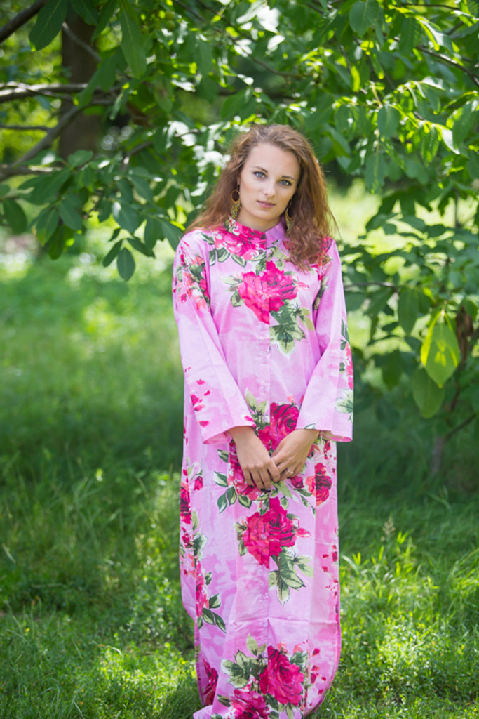 """""""Charming Collars"""" kaftan in Large Fuchsia Floral Blossom pattern"""