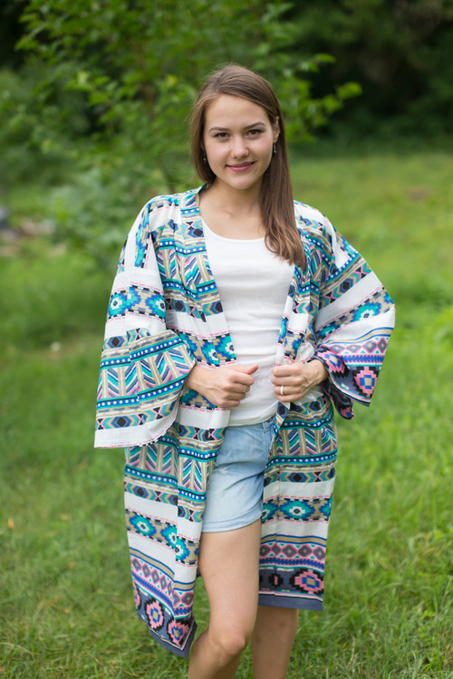 """Free Bird"" Kimono jacket in Aztec Geometric pattern"