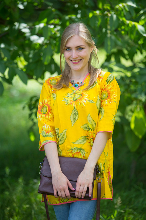 """Glam Tunics"" kaftan Top in Sunflower Sweet pattern"