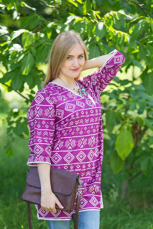 """Glam Tunics"" kaftan Top in Tribal Aztec pattern"