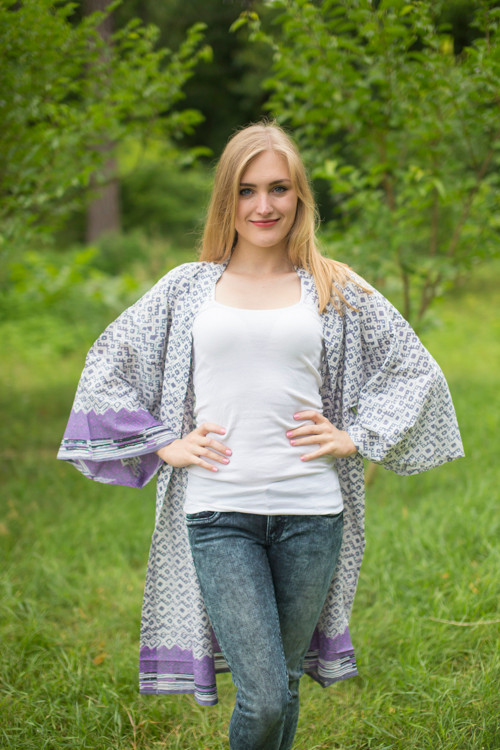 """Free Bird"" Kimono jacket in Geometric Chevron pattern"