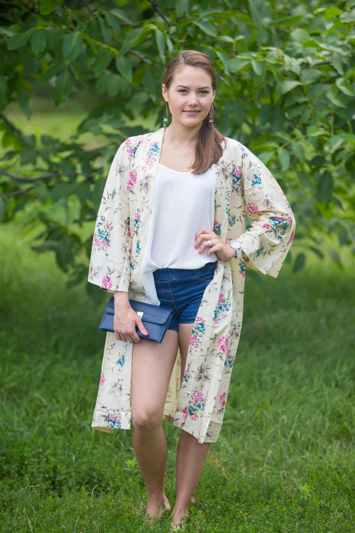 """Free Bird"" Kimono jacket in Romantic Florals pattern"