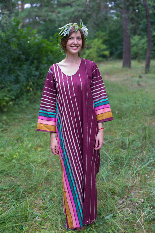 """The Unwind"" kaftan in Multicolored Stripes pattern"