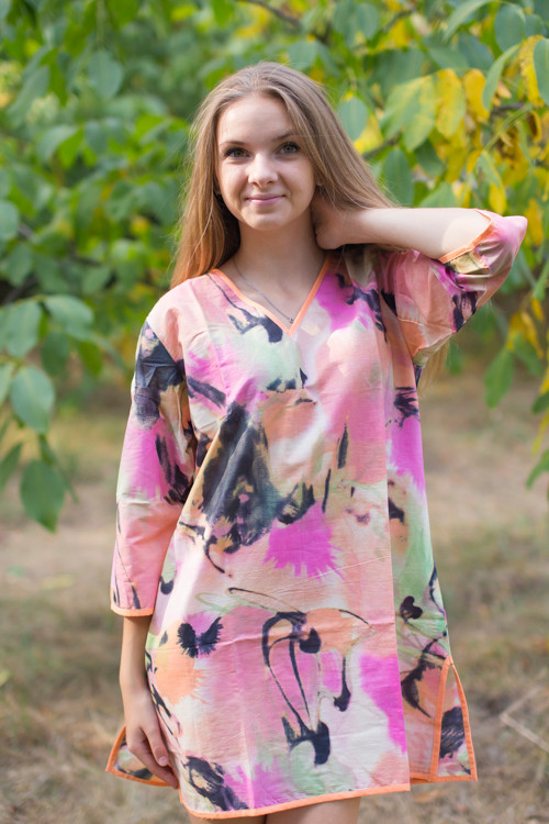 """Sun and Sand"" Beach Tunic in Flamingo Watercolor pattern"