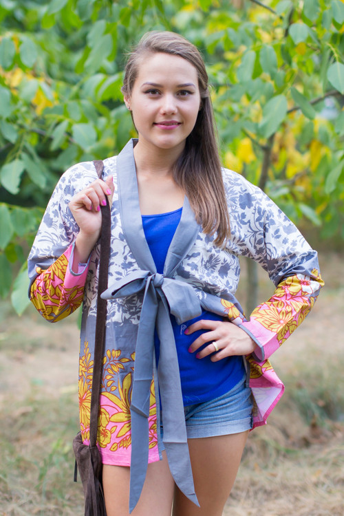 """Bow and Me"" Kimono jacket in Falling Leaves pattern"