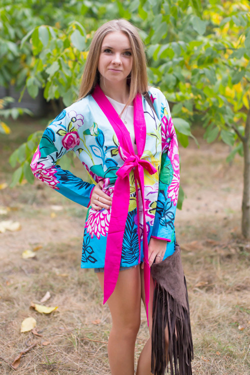 """""""Bow and Me"""" Kimono jacket in Jungle of Flowers pattern"""