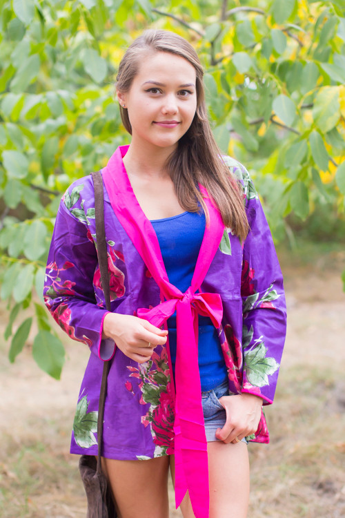 """Bow and Me"" Kimono jacket in Large Fuchsia Floral Blossom pattern"