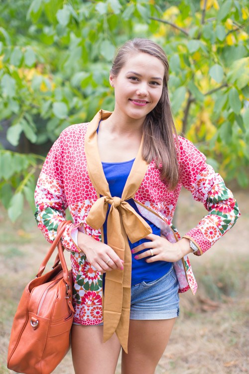 """Bow and Me"" Kimono jacket in Round and Round pattern"