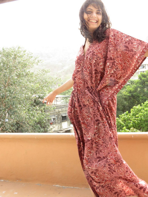"""Organic Au Naturelle"" Cinched Drawstring kaftan in Raspberry Floral pattern"