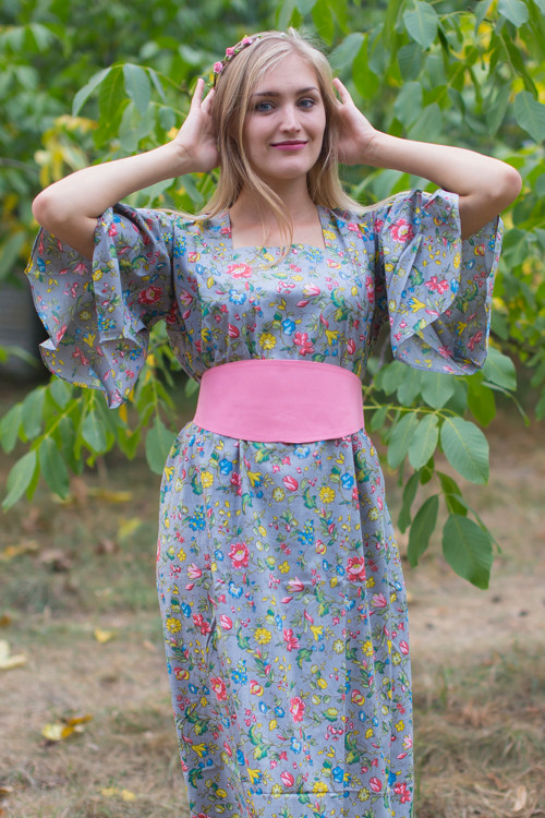 """Beauty, Belt and Beyond"" kaftan in Happy Flowers pattern"