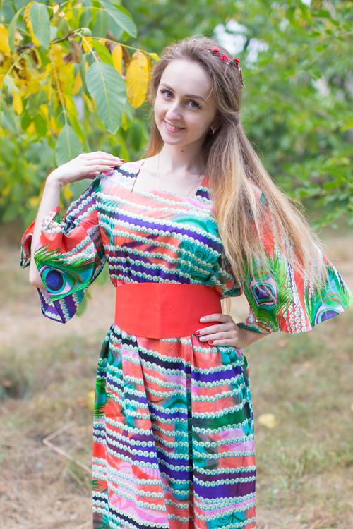 """Beauty, Belt and Beyond"" kaftan in Peacock Plumage pattern"