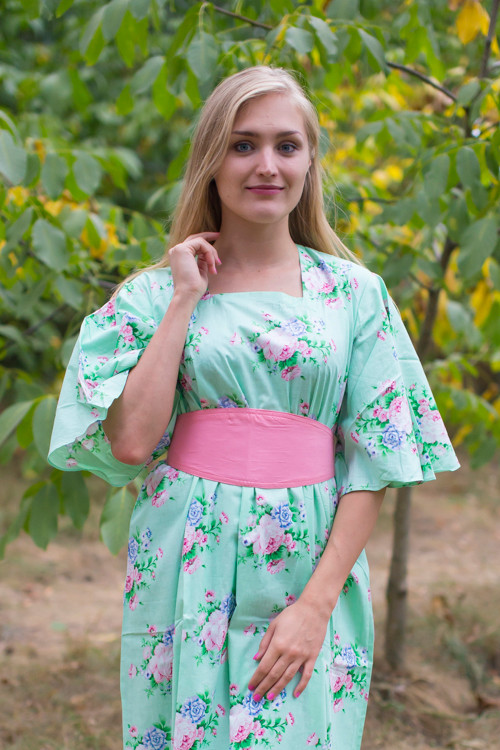 """Beauty, Belt and Beyond"" kaftan in Pink Peonies pattern"