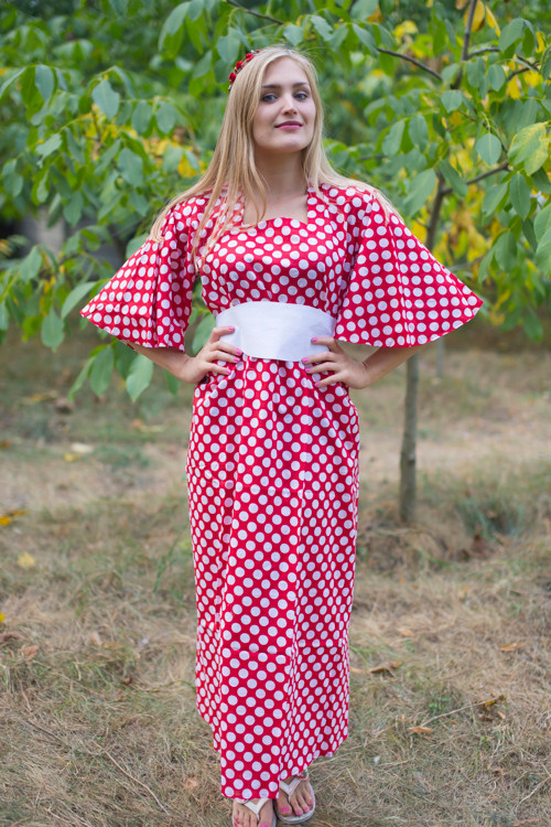 """Beauty, Belt and Beyond"" kaftan in Polka Dots pattern"