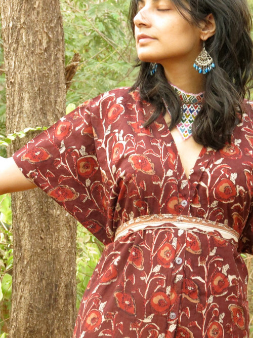 """Organic Au Naturelle"" Button-Front kaftan in Maroon Floral pattern"