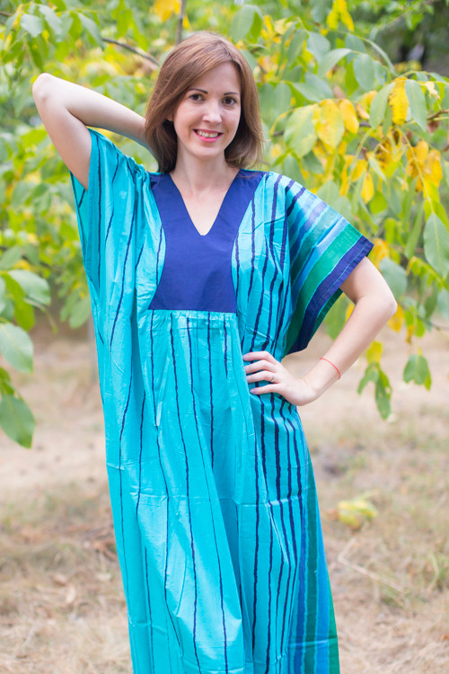 """Flowing River"" kaftan in Multicolored Stripes pattern"
