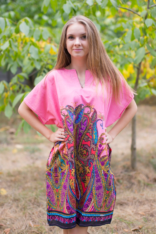 """Sunshine"" Tunic Dress kaftan in Cheerful Paisleys pattern"