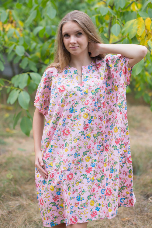 """Sunshine"" Tunic Dress kaftan in Happy Flowers pattern"