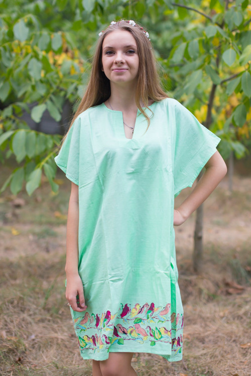 """Sunshine"" Tunic Dress kaftan in Little Chirpies pattern"