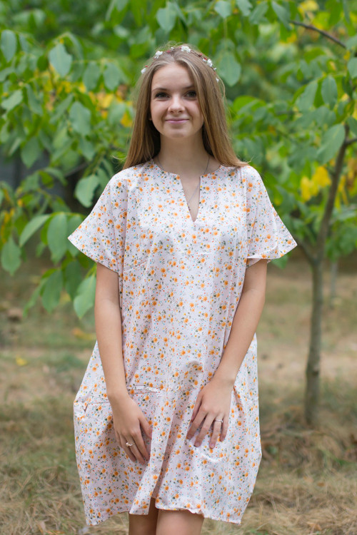 """Sunshine"" Tunic Dress kaftan in Starry Florals pattern"