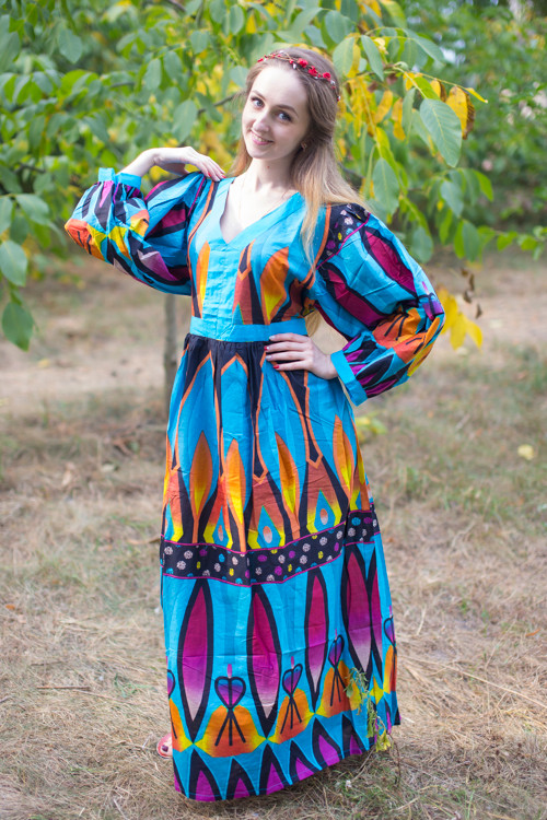 """My Peasant Dress"" kaftan in Glowing Flame pattern"