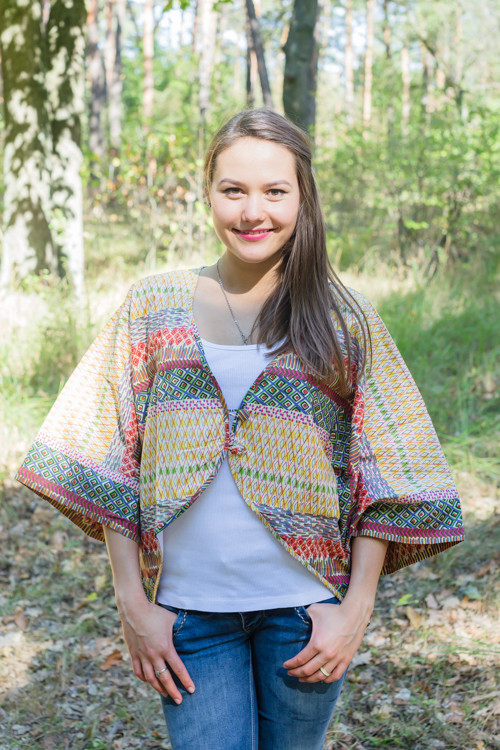 """Fly towards Glory"" Kimono jacket in Abstract Geometric pattern"