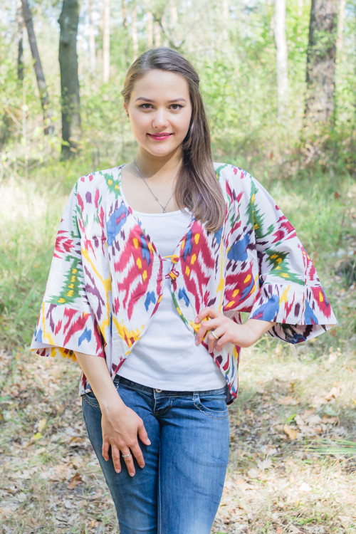 """Fly towards Glory"" Kimono jacket in Ikat Aztec pattern"