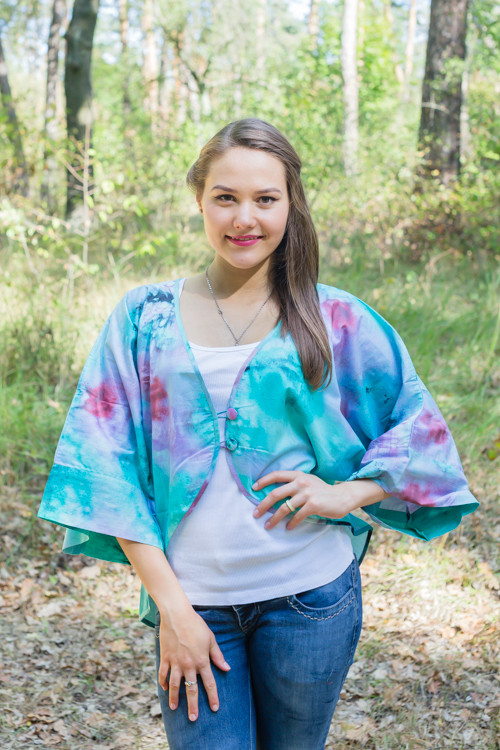 """Fly towards Glory"" Kimono jacket in Watercolor Splash pattern"