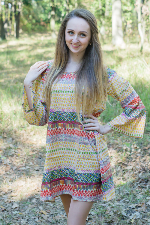 """Bella Tunic"" kaftan dress in Abstract Geometric pattern"