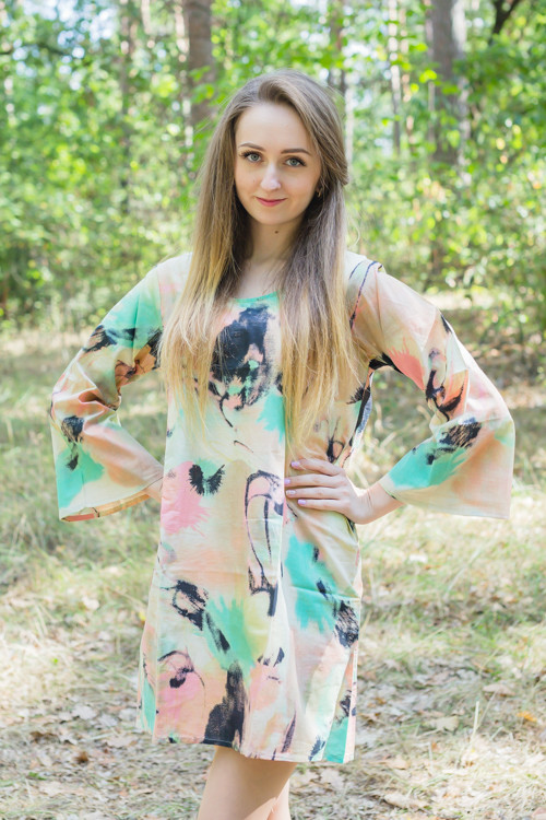 """Bella Tunic"" kaftan dress in Flamingo Watercolor pattern"