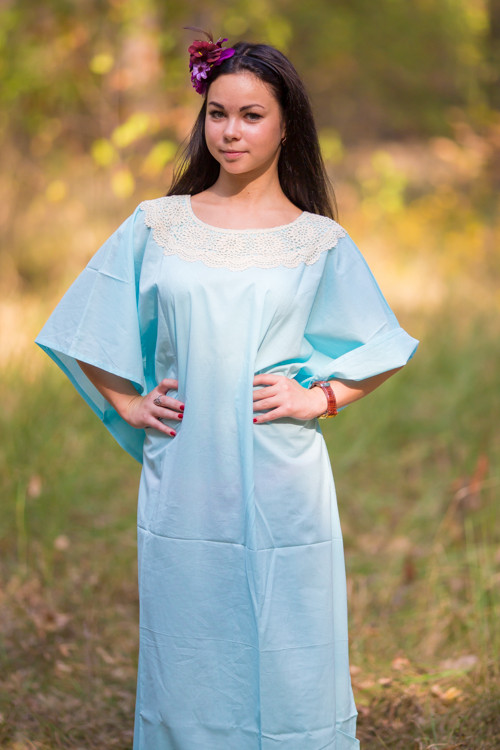 """Luscious Lace"" kaftan in Light Blue"