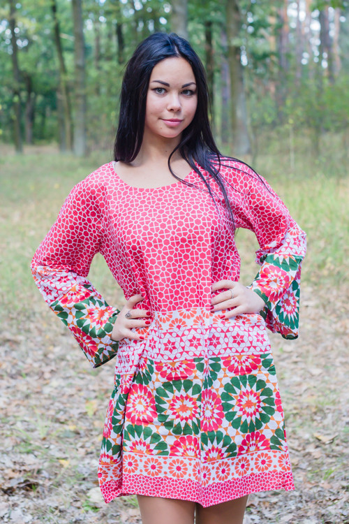 """Bella Tunic"" kaftan dress in Round and Round pattern"