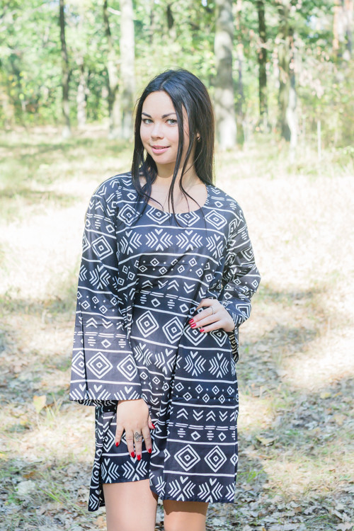 """Bella Tunic"" kaftan dress in Tribal Aztec pattern"