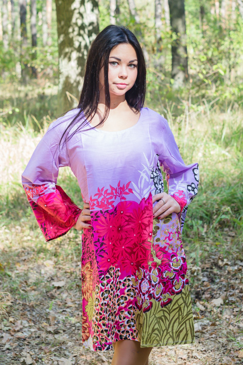 """Bella Tunic"" kaftan dress in Vibrant Foliage pattern"