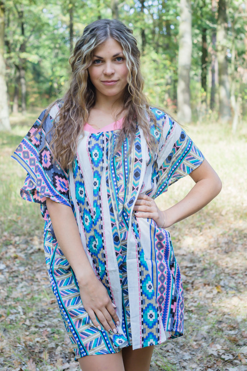 """Summer Celebration"" Tunic Dress kaftan in Aztec Geometric pattern"