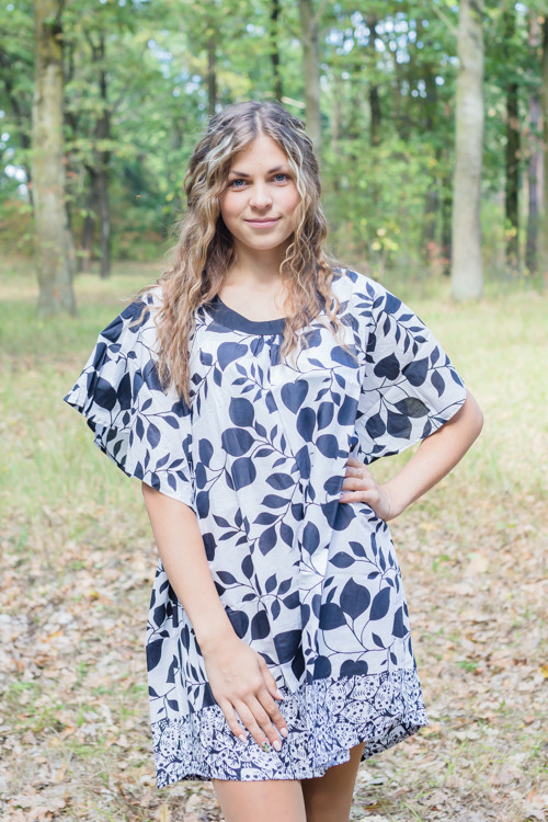 """Summer Celebration"" Tunic Dress kaftan in Classic White Black pattern"