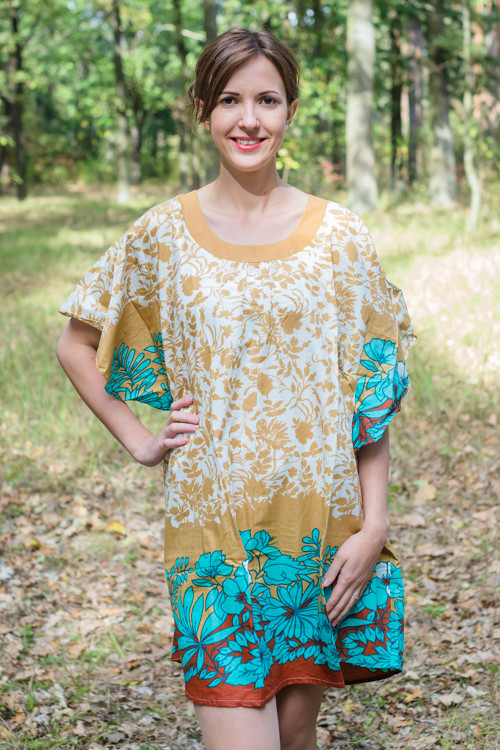 """Summer Celebration"" Tunic Dress kaftan in Falling Leaves pattern"
