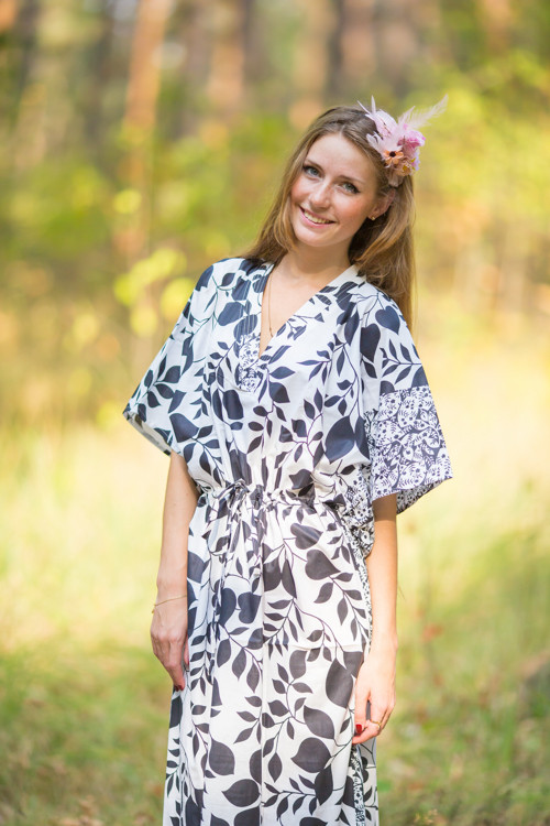 """The Drop-Waist"" kaftan in Classic White Black pattern"