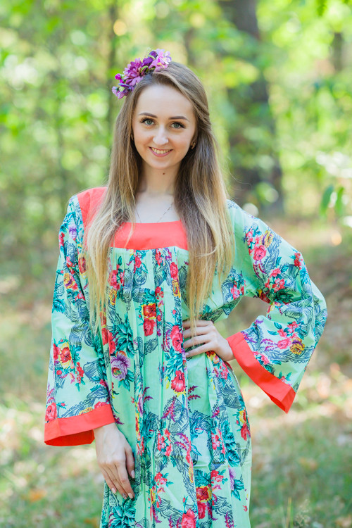 """Fire Maiden"" kaftan in Cute Bows pattern"