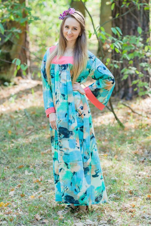 """Fire Maiden"" kaftan in Flamingo Watercolor pattern"