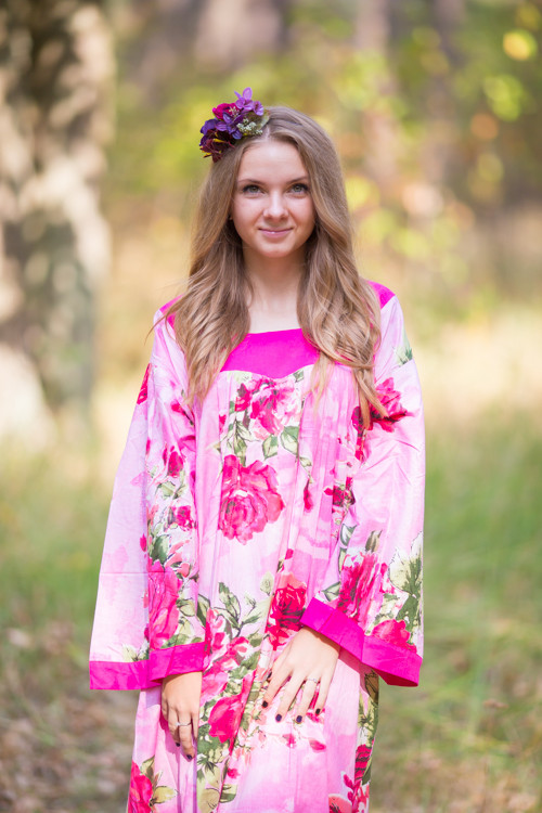 """Fire Maiden"" kaftan in Large Fuchsia Floral Blossom pattern"