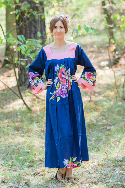 """Fire Maiden"" kaftan in One Long Flower pattern"