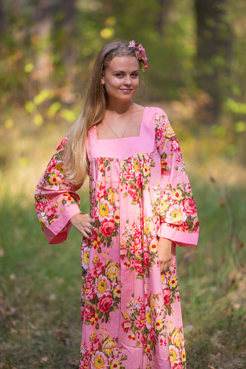 """Fire Maiden"" kaftan in Rosy Red Posy pattern"