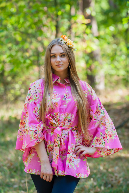 """Oriental Delight"" kaftan Top in Floral Posy pattern"