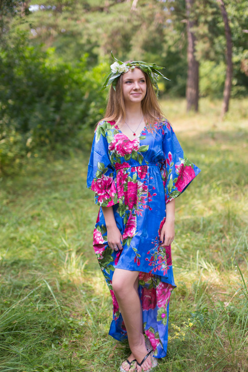 """High Low Wind Flow"" kaftan in Large Fuchsia Floral Blossom pattern"
